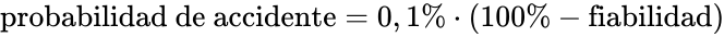 \text{probabilidad de accidente} = 0,1\% \cdot \left( 100\% - \text{fiabilidad} \right)