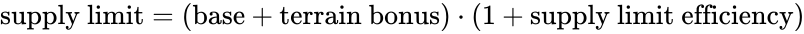 {\displaystyle {\text{supply limit}}=({\text{base}}+{\text{terrain bonus}})\cdot (1+{\text{supply limit efficiency}})}