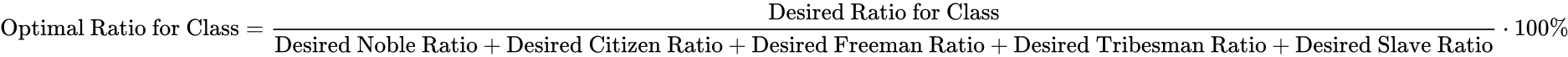 {\displaystyle {\text{Optimal Ratio for Class}}={\frac {\text{Desired Ratio for Class}}{{\text{Desired Noble Ratio}}+{\text{Desired Citizen Ratio}}+{\text{Desired Freeman Ratio}}+{\text{Desired Tribesman Ratio}}+{\text{Desired Slave Ratio}}}}\cdot 100\%}